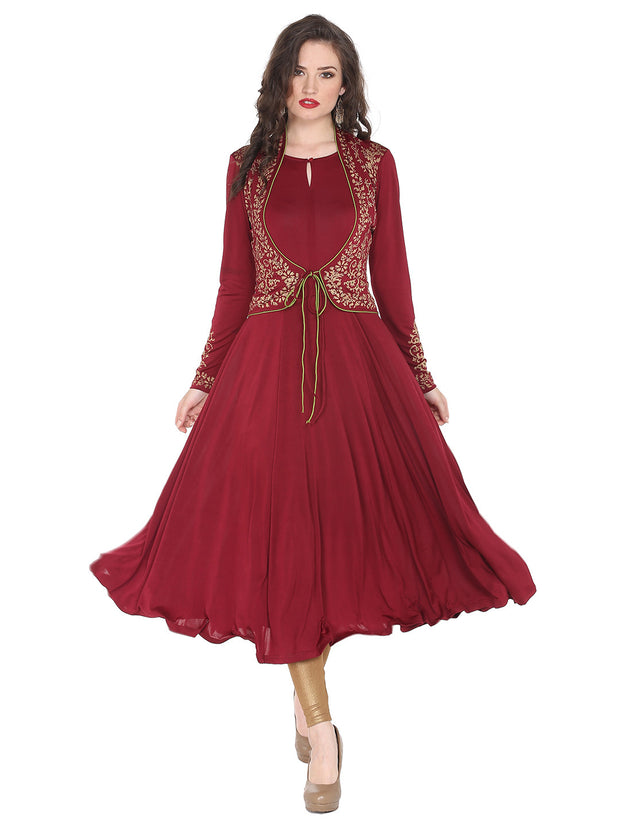 Long anarkali with attached shrug and contrast piping - Ira Soleil