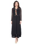 Black kurta with embroidered placket in light georgette fabric