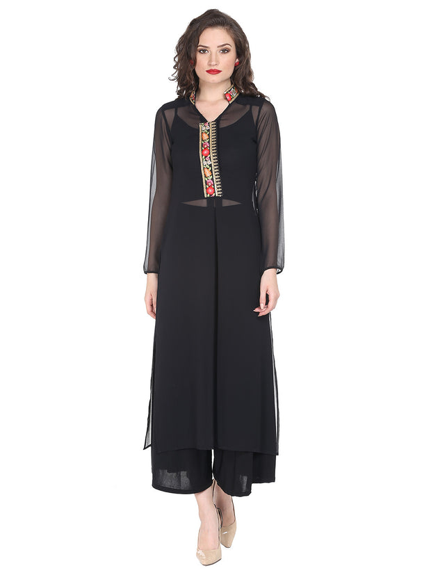 Black sheer kurta with embroidered placket and collar. - Ira Soleil