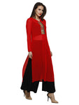 Red kurta with embroidered placket in light georgette fabric