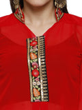 Ira Soleil Red Long kurta and embroidered placket made in light georgette fabric