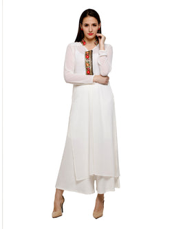 White Kurta with embroidered placket in light georgette fabric