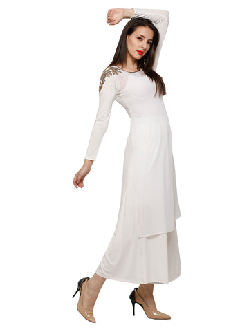 Ira Soleil 2 pcs Set of White Kurti with Embroidered shoulder and pallazzo