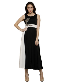 Black kurta with embroidered patch - Ira Soleil