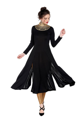 Ira Soleil Black Long anarkali full sleeves with embroidered neckline