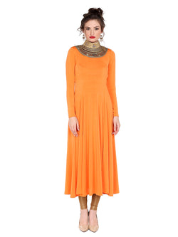 Orange anarkali with embroidered neckline - Ira Soleil
