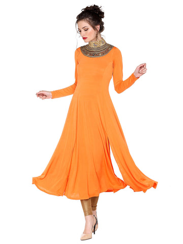 Ira Soleil Orange Long anarkali full sleeves with embroidered neckline