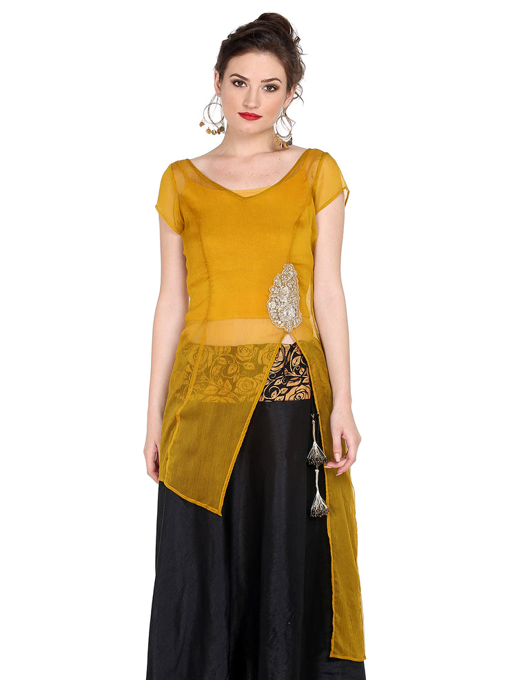 Ira Soleil Yellow Kurta with Embroidered Patch on waist - Ira Soleil
