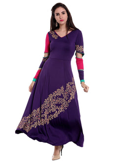 Purple Long Kurta with gold Print - Ira Soleil