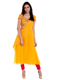 Ira Soleil Yellow Kurta with Embridered Yoke