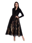 Black block printed anarkali in dupion-viscose-lyrcra fabric - Ira Soleil