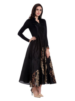 Black block printed anarkali in dupion-viscose-lyrcra fabric