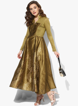 Gold block printed anarkali in dupion-viscose-lyrcra fabric