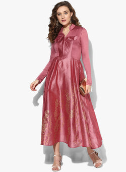 Pink block printed long anarkali in dupion fabric - Ira Soleil