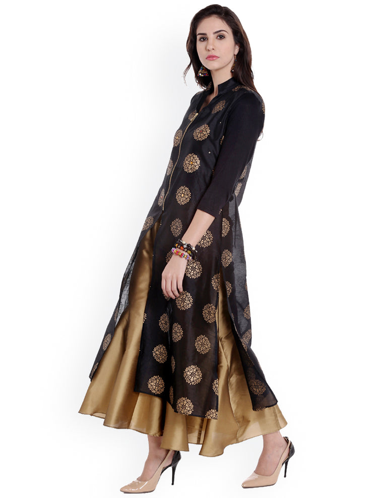 Ira Soleil All over printed Black Long Kurta made in Dupion Fabric - Ira Soleil