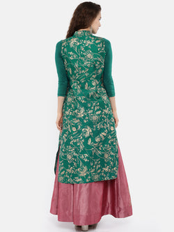 Green all over printed long kurti in dupion fabric with viscose lycra sleeves. - Ira Soleil