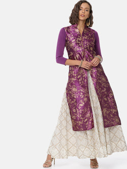 All over purple gold printed long kurti with zipper