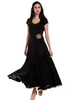 Long, flared Anarkali with embellished flower patch on waistline. - Ira Soleil