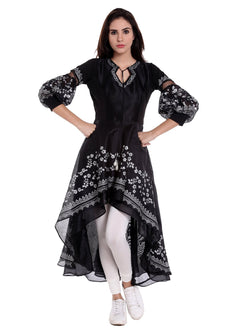 Black High Low Kurta with White Print
