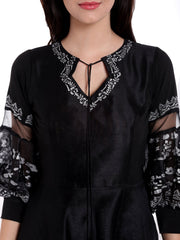 Black High Low Kurta with White Print - Ira Soleil