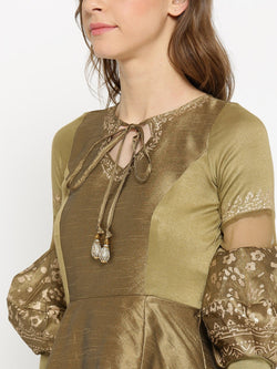 Gold High Low Kurta with Gold Floral Print and voluminous sleeves. - Ira Soleil