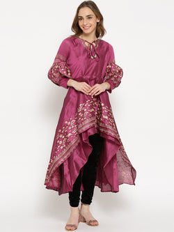 Ira Soleil Purple High Low Kurta with Gold Floral Print