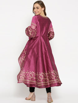 Purple High Low Kurta