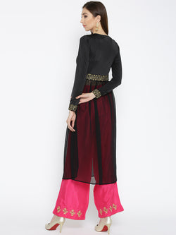 Ira Soleil Black Long Kurti with embroidered waist line. - Ira Soleil