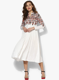 Long white Kurti with multi colored print