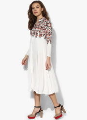 Long white Kurti with multi colored print - Ira Soleil
