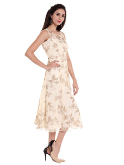 Ira soleil Cream chiffon all over printed long anarkali kurta