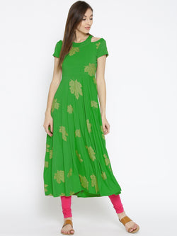 Green Long Kurta maxi dress with gold leaf print - Ira Soleil