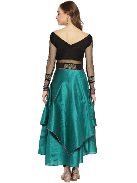 Black & Green long asymmetrical hem anarkali kurta with sequin lace - Ira Soleil