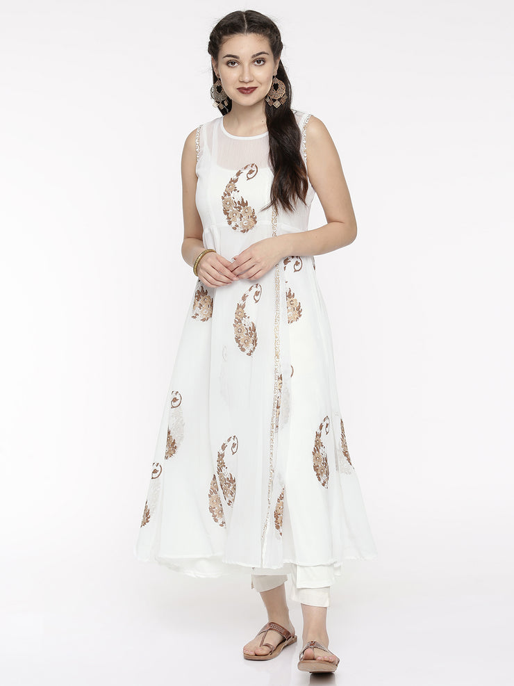 Set of White Georgette Kurta & Long Inner. - Ira Soleil