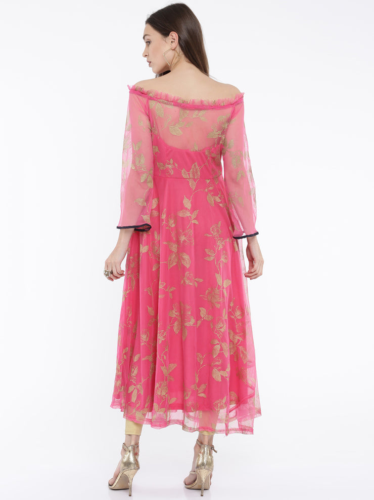 Ira Soleil Pink all over printed Long 3/4th Sleeves Kurta - Ira Soleil