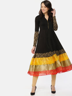 Black full sleeve Kurta with front opening and printed broad hem. - Ira Soleil