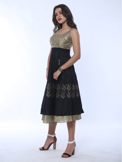 Gold and black Long Anarkali with embroidered yoke and block print - Ira Soleil