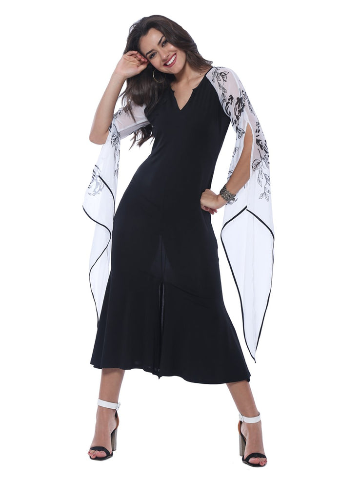 Long Kurti with Winged printed Sleeves - Ira Soleil