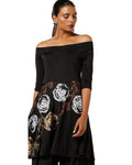 Ira Soleil New Black Flared Hem Kurti with Gold Print