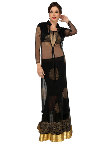 ira-soleil-3-peice-set-of-black-polyester-knitted-strechable-blouse-with-block-print-nylon-net-long-jacket-lehenga-set