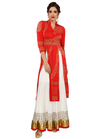 ira-soleil-3-piece-set-of-red-white-polyester-knitted-strechable-block-printed-long-blouse-with-dupatta-skirt-lehenga-set