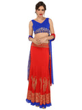 ira-soleil-3-piece-set-of-blue-chiffon-choli-with-dupatta-red-polyester-knitted-strechable-lehenga-set