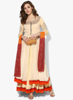 3 pc set of cream lehanga top and dupatta with gold print - Ira Soleil