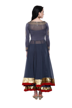 3 pc set of grey lehanga top and dupatta with gold print - Ira Soleil