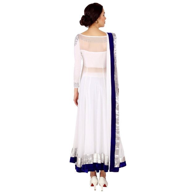 Ira Soleil White 3 pcs Set of Long Top Skirt and Dupatta - Ira Soleil