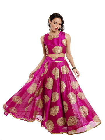 2-pcs-pink-set-of-ira-soleil-skirt-and-top-set-make-in-poly-dupion-farbic-with-all-over-gold-rose-print