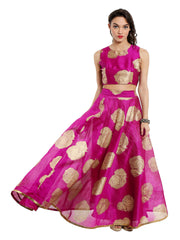 Pink-set-of-ira-soleil-skirt-and-top-2-pcs-make-in-poly-dupion-farbic-with-all-over-gold-rose-print - Ira Soleil
