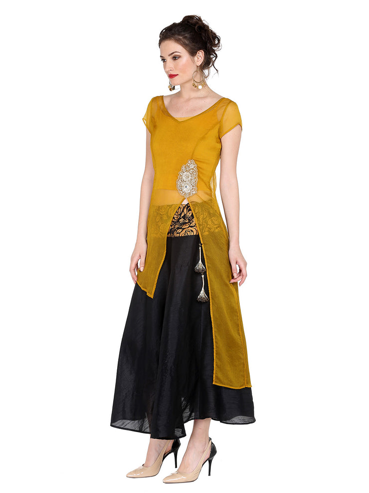 Ira Soleil 3 pcs Set of Yellow kurti with Inner and Black Lehanga Skirt - Ira Soleil