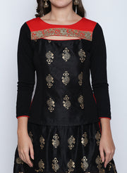 Ira Soleil 2 pc set of Black and Red Lehanga and Top with gold print - Ira Soleil