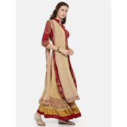 A maroon long kurta & beige skirt with dupatta set. - Ira Soleil
